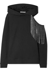 Christopher Kane Cutout Embellished Cotton Jersey Hooded Top Black