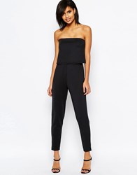 Asos Scuba Jumpsuit With Double Layer Bandeau Black