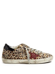 Golden Goose Super Star Leopard Print Suede Trainers