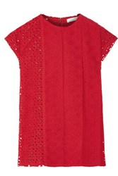 Nina Ricci Pintucked Broderie Anglaise Cotton Top Red