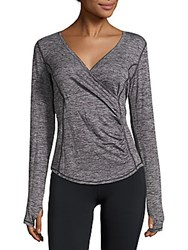 Betsey Johnson Performance Surplice Long Sleeve Top Charcoal