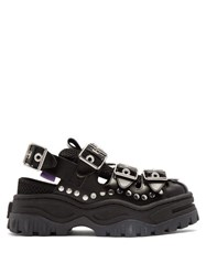 Eytys Athena Studded Leather Flatform Sandals Black
