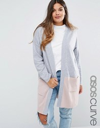 Asos Curve Cardigan In Colourblock Grey Pink Multi