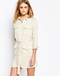 Daisy Street Belted Shirt Dress With Utility Pockets Cream