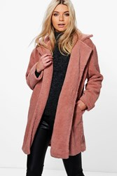 Boohoo Eloise Boutique Teddy Fur Coat Dusky Pink