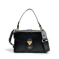 Moschino Hidden Lock Shoulder Bag In Black Calfskin