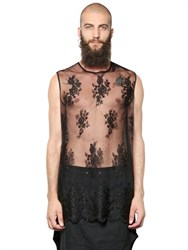 Tom Rebl Sleeveless Sheer Lace Tulle Top