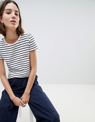 People Tree Organic Fairtrade Cotton T Shirt In Breton Stripe With Love Slogan White Blue Stripe