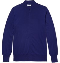 Richard James Wool Zip Up Cardigan Royal Blue