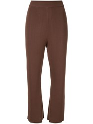 G.V.G.V. Kick Flare Knit Trousers Brown