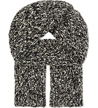 Sandro Knitted Wool Wrap Scarf Black White