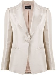 Emporio Armani Single Breasted Fitted Blazer Neutrals