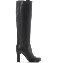 Dune Rena Knee High Stacked Heel Boots Black Leather