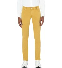 Corneliani Slim Fit Tapered Stretch Denim Jeans Yellow