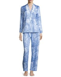Oscar De La Renta Printed Cotton Sateen Pajama Set Blue Blue Print