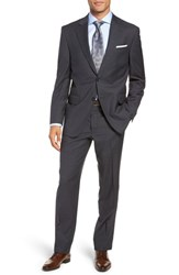 Peter Millar Big And Tall Flynn Classic Fit Plaid Wool Suit Charcoal