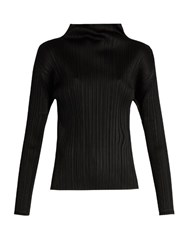 Issey Miyake Long Sleeved Pleated High Neck Top Black