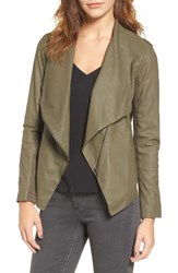 Bb Dakota Women's 'Kenrick' Drape Neck Leather Jacket Sage
