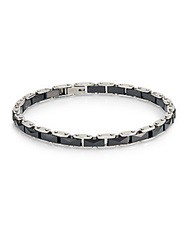 Saks Fifth Avenue Stainless Steel And Ceramic Link Bracelet Silver