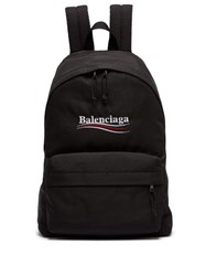 Balenciaga Explorer Logo Embroidered Coated Canvas Backpack Black