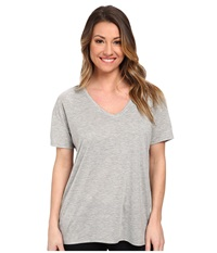 Hurley Solid Riot V Neck Tee Heather Grey Women's T Shirt Gray