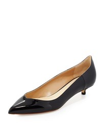 Francesco Russo Patent Leather Low Heel Pump Black