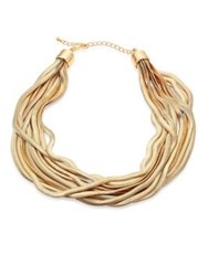 Kenneth Jay Lane 10 Row Snake Chain Necklace Gold
