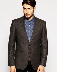 Asos Slim Fit Blazer In Tweed Khaki