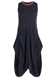 High Braque Mesh Panelled Jersey Dress Navy