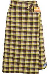 Prada Checked Jacquard Knit Wrap Midi Skirt Yellow