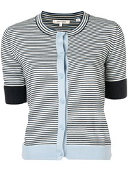 Chinti And Parker Striped Knitted Cardigan Blue