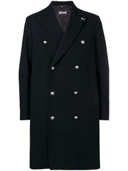 Just Cavalli Double Breasted Fitted Coat Black