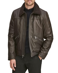 Andrew Marc New York Kilmer Leather Bomber Jacket W Shearling Collar Espresso