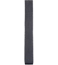 Sandro Knitted Two Tone Tie Navy Blue