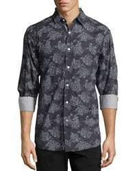 English Laundry Long Sleeve Paisley Print Sport Shirt Black