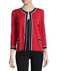 Misook Long Sleeve Knit Jacket Red Multi