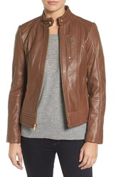 Michael Michael Kors Women's Band Collar Front Zip Leather Jacket Dark Camel