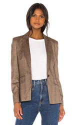Central Park West Finley Sweater Dickey Blazer In Brown.