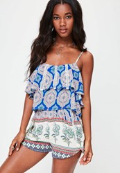 Missguided Blue Paisley Print Shorts