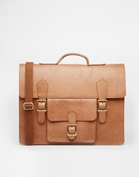Asos Leather Satchel With Front Pocket Brown