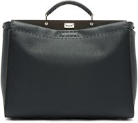 Fendi Navy Leather Small Peekaboo Tote
