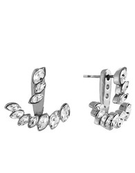 Vince Camuto Silvertone And Glitz Arc Earrings