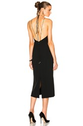 Calvin Klein Collection Kianca Open Back Silver Jewelry Ankle Length Dress In Black