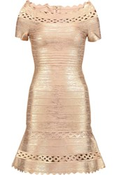 Herve Leger Lattice Paneled Metallic Bandage Mini Dress Rose Gold