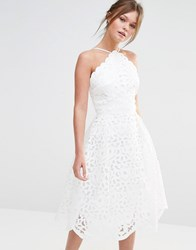 Chi Chi London High Neck Cutwork Midi Prom Dress White