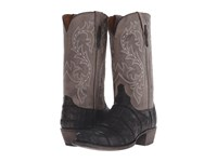 Lucchese Burke Black Giant Alligator Charcoal Cowboy Boots