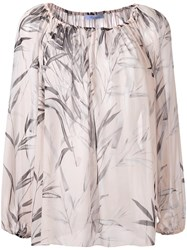 Blumarine Leaves Print Shift Blouse Nude Neutrals