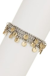 Lucky Brand Two Tone Link Coin Charm Bracelet Metallic