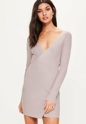 Missguided Pink Ribbed Wrap Over Mini Knitted Jumper Dress Mauve