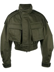 Juun.J Cropped Military Jacket Green